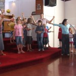 Children perform at 945 Sunday service